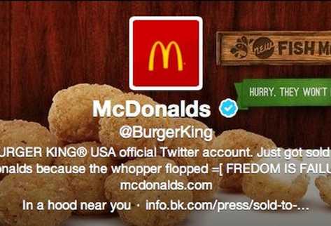 La cuenta de Burger King fue suplantada con la imagen de MacDonalds. (Foto Prensa Libre: Internet)