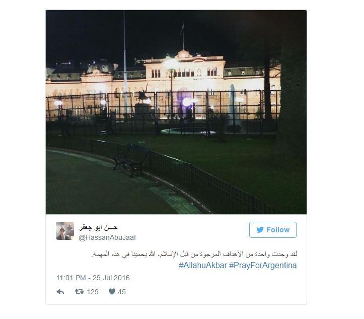 La Casa Rosada de Argentina estaba entre las supuestas amenazas terroritsas.  (Foto: Twitter/@HassanAbuJaaf).
