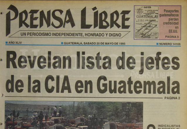 Titular de Prensa Libre del 20 de mayo de 1995. (Foto: Hemeroteca PL)