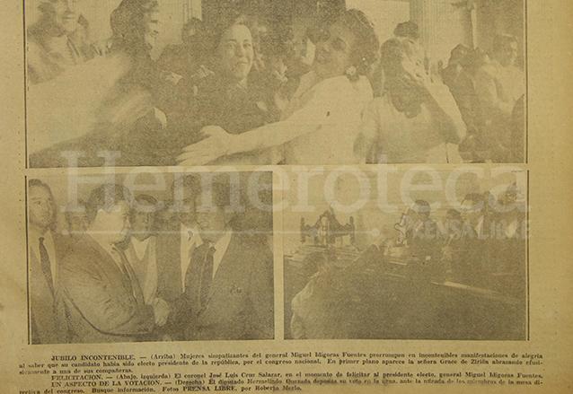Fotos que ilustraban la portada de Prensa Libre del 13 de febrero de 1958 donde aparecen aspectos de la elección de Ydígoras Fuentes. (Foto: Hemeroteca PL)