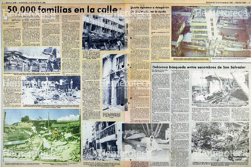 Reportaje publicado por Prensa Libre el 12 de octubre de 1986 donde se muestran los daños provocados por el Terremoto de San Salvador. Foto: Hemeroteca PL