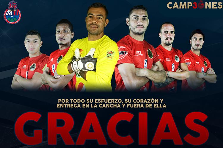 De esta manera agradeció el club a los jugadores. (Foto Prensa Libre: rojos.com)