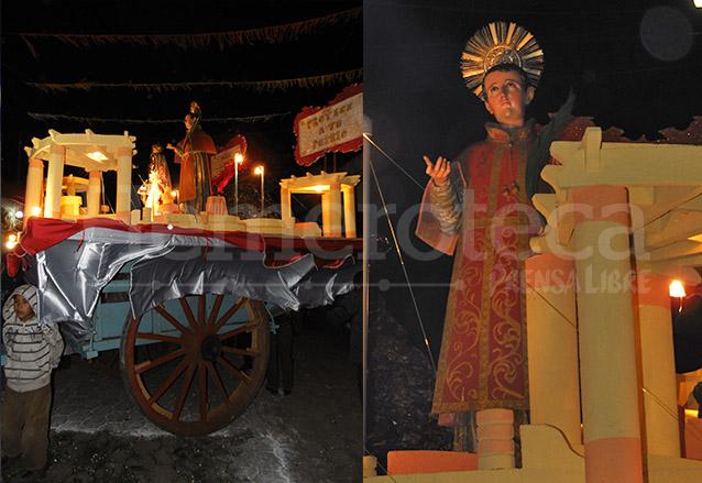 Carreta antigua que se utiliza para transportar la imagen del Patrón San Vicente Mártir por las calles de San Vicente Pacaya. (Foto: Néstor Galicia)