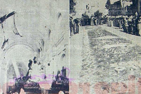 Izquierda, procesión de Jesús del Consuelo de la Recolección, antes de salir del templo dañado. Derecha, Alfombra realizada al paso de la procesión. 1976. Foto: Hemeroteca PL