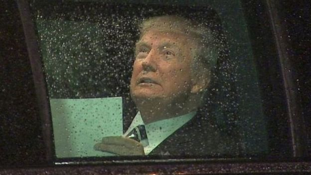 Trump volvió a muchos de los temas familiares de su campaña. (ABC).