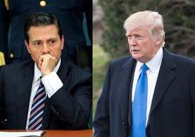 El presidente mexicano, Enrique Peña Nieto, (i) enfrenta nuevas críticas en México por su supuesta pasividad frente al mandatario estadounidense Donald Trump (d). Foto: AGENCIAS
