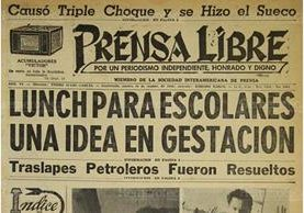 Portada de Prensa Libre 18/9/1956 informo sobre la creación de la refacción escolar para todos los niños de las escuelas de Guatemala. (Foto Hemeroteca PL)