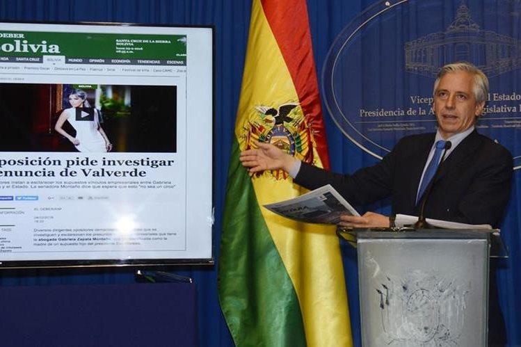 """El vicepresidente Álvaro García Linera denunció el miércoles una """"articulación política"""" para atacar al presidente Evo Morales con el caso de Gabriela Zapata. (Foto Prensa Libre: EFE)."""