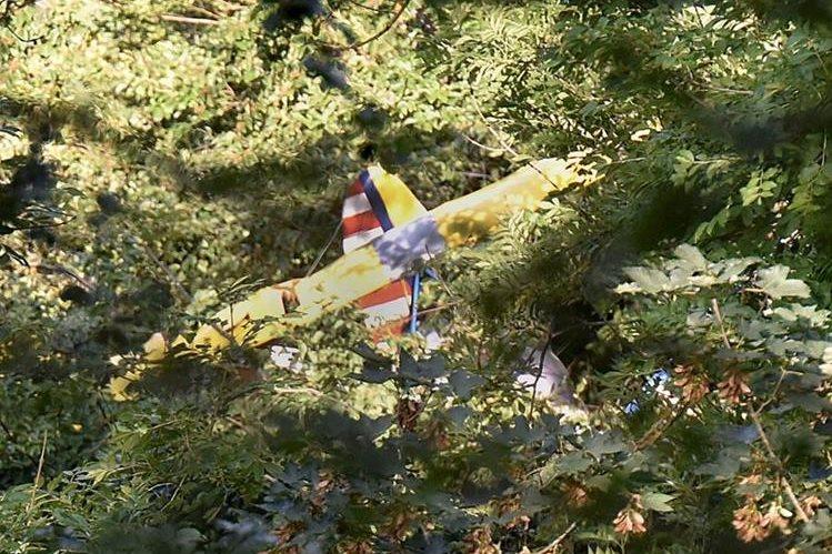 Los restos de la aeronave siniestrada cerca de Degenfeld, Alemania. El piloto esperó 13 horas para ser rescatado. (Foto Prensa Libre: AP).