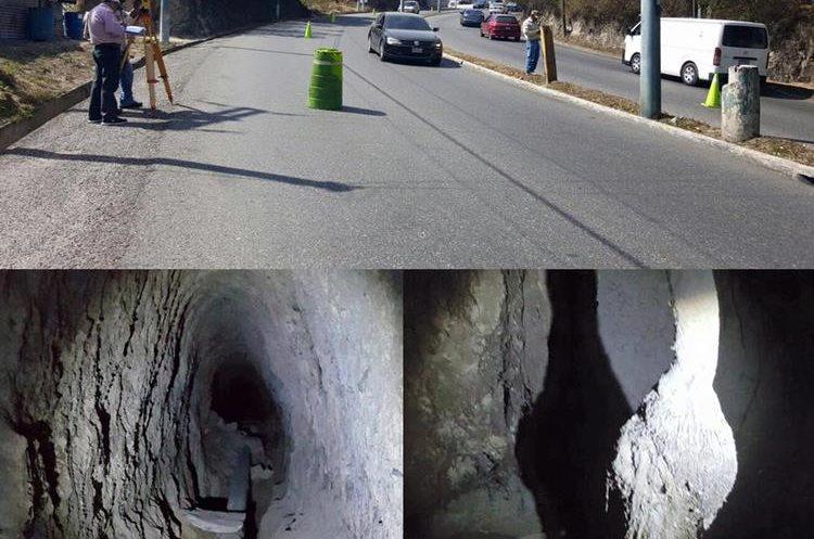 15/02/2016 Topógrafos  de  Mixco descubren caverna en bulevar  Villa Deportiva, San Cristóbal. (Foto: Municipalidad de Mixco)