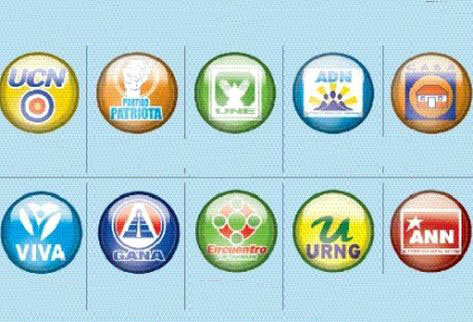 Partidos políticos que participaron en el proceso electoral 2011. (Foto Prensa Libre: Archivo)