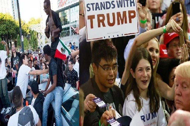 Varios partidarios que salían del un mitin de Donald Trump fueron atacados por manifestantes. (AFP).